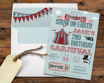 Come One, Come All, Vintage Carnival, Circus Tent, Birthday Party, Admission Ticket, Show on Earth, Printable Digital, Printed Invites