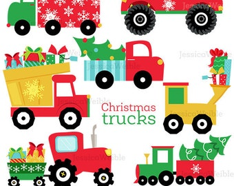 Christmas Trucks Cute Digital Clipart - Commercial Use OK - Christmas Truck Clip art, Christmas Graphics, Tree in Truck, Gifts in Truck