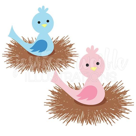 Baby Bird Nest Cute Digital Clipart, Baby Nest Clip art, Bird Nest ...