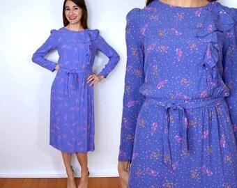 80s Lavender Floral Dress | Purple Ruffle Dress | 40s Style Dress