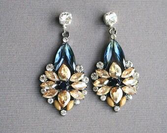 Rhinestone Earrings, Statement Earrings, Luxe Earrings, Holiday Jewelry
