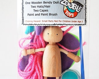 Kids Craft Kit - Easter Basket - Create A Bendy Doll Kit  - Kids Craft Kit - Learn To Paint - Gift Idea - Design Your Own Dollhouse Doll