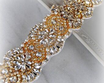 "Gold Crystal Rhinestone Trim with Pearls, Swarovski, Yellow Gold Beaded Rhinestone Bridal Applique for Wedding Gown or Sash, 24"""