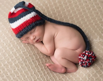Red White Blue Striped Newborn Knit Baby Hat, Baby Stocking Cap, Baby Elf Hat, July 4 Baby Hat, Military Baby, Newborn Baby Hat, Baby Shower
