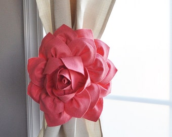 Curtain Tiebacks / Two Flower Window Treatments / Curtain Holdback / Drapery Tie Back / Coral Home Decor / Curtain / Curtain Tie