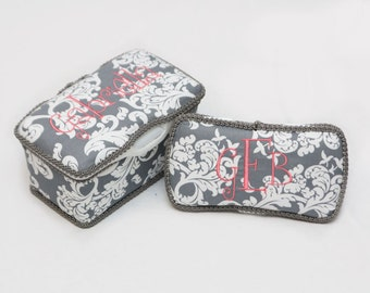 Personalized Wipes Case Tub and Travel Wipes Case - Grey Damask with Coral