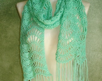 Mint Green Feather and Fan Crocheted Scarf Shoulder Wrap