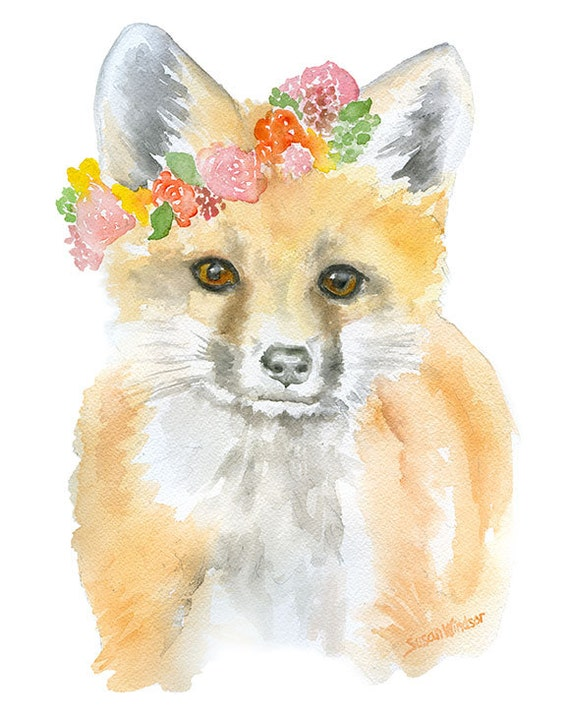 Fox Floral Wreath Watercolor Painting 8 X 10 8 5 X 11 Fine