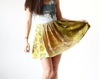 Graphic Moonlit Wolf Retro Mini Dress - Yellow and Green Paisley Floral Print Skirt - Eco Friendly Womens Apparel by Tammy Jo Fashion