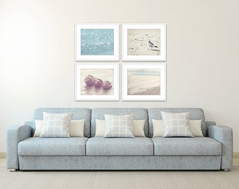 coastal wall art, set of 4 prints, beach prints, nautical wall decor, coastal art, nautical decor, wall art photos, ocean decor set of 4
