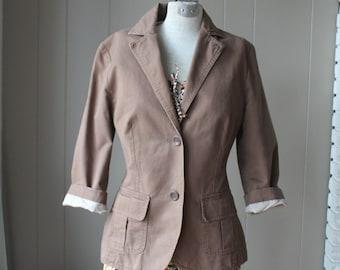Vintage Esprit Cotton Blazer Cocoa brown Fall jacket Three quarter sleeve jacket Boyfriend blazer small