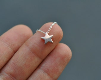 Vermeil Rose Gold Star Necklace - Gold plated over sterling silver star charm necklace, pink gold star charm