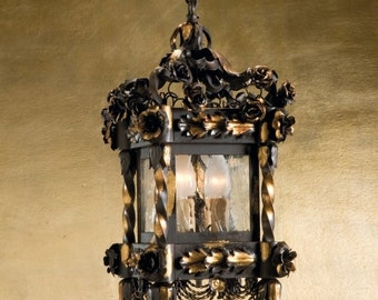 Florence art wrought Iron black and gold lantern hanging lamp, perfect for low ceilings, customizable