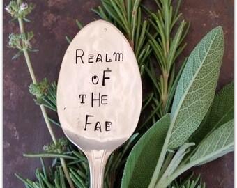 Realm of the Fae, Garden Marker, Vintage Silverware, Spoon Marker, Hand Stamped, Fairy Garden, Faerie, Druid, Miniature, Fantasy Gardener