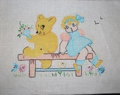 """Vintage 1940's Vogart Nursery Pictures - #1058 Pure Linen - Hand Embroidered 12"""" by 9"""" Wall Hanging - Little Girl and Teddy Bear Goldilocks"""