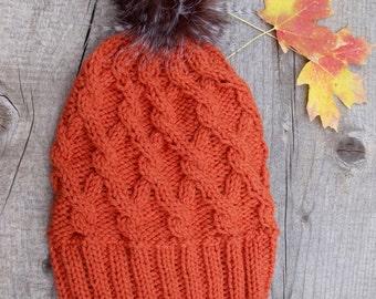 Slouchy Hat with Pom Pom, Pom Pom Hat, Faux Fur Pom Pom, Slouchy Beanie, Cable Knit Hat, Cable Knit Beanie, Knitting Hat, Knit Hat, Orange