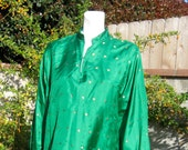 Emerald Green Silk Tunic With Gold Thread Dot Design Side Slits Large Traditional Indian Clothing