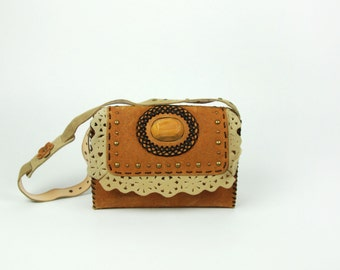 Hippie Handbag with Wooden Accent and Eyelet Leather