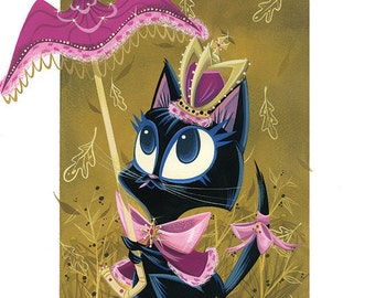 Black Kitty Queen Giclée Print