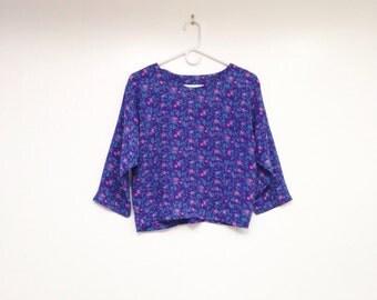Vintage 1980s Violet Purple Floral Chiffon Crop Top