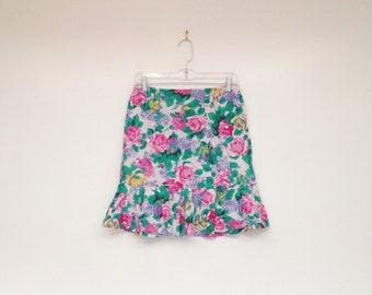 Vintage 1980s Rainbow Rose Print High Waisted Soft Cotton Mini Skirt