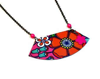 Graphic Flower Necklace, Bib Necklace, Statement Necklaces, Upcycled Jewelry, Reversible