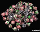 Catholic Rosary Natural Rain Flower Stone Silver Traditional Pink Cranberry Red Green Rosary Beads