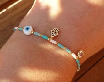 Blue and White Gold Hamsa Charm Bracelet - Evil eye Beaded Gold Hamsa Bracelet with Silk Tassel