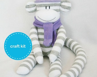 Stuffed toys, Sock Monkey Craft  Kit - Grey and White Stripes and Purple Hat, Toy Pattern