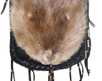 Mountain man beaver face possibles bag purse unisex cross body rendezvous totem