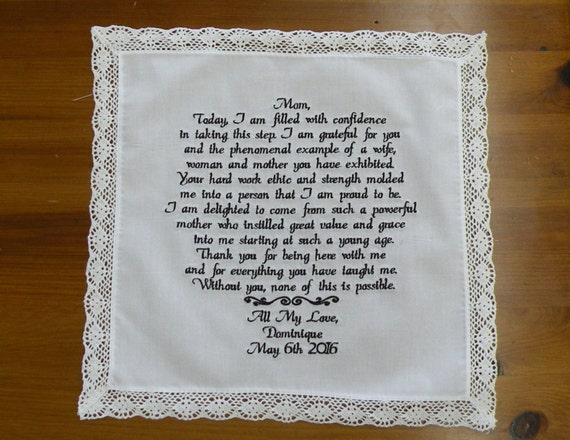 Embroidered Wedding Handkerchief Mother Father Up to 60 Words Your Personalized Saying Bridal Sayings Gifts Handkerchief Wedding Gift to Mom