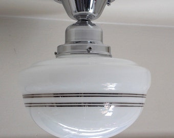 Schoolhouse Ceiling Light Fixture (with Silver Metallic Bands)