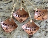 Copper Pantry Tags - Butterfly Motif - Set of Four - Coffee, Flour, Sugar, Brown Sugar  - Hand Stamped