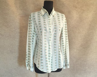 Vintage 70's White Shirt, Long Sleeve Button Down Western, Green Stripe and orange Floral, Women's Size Small to Medium