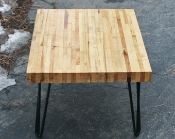 Handmade Bowling Alley Coffee Table with Mid Century Hairpin Legs