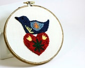 Ready to Ship! Scandinavian Folk Art Bird and Heart Eco Friendly Embroidery Hoop Art. Punchneedle Nordic Decor. Blue, Red, Yellow.