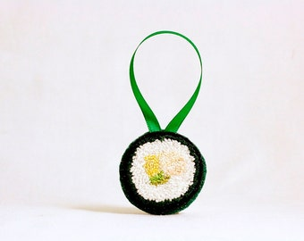 Ready to Ship! Yellowtail Avocado Roll Sushi Christmas Ornament. Punchneedle. Food Art. Gift for Foodie. Sushi Art.