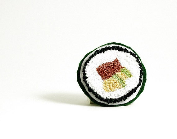 Sushi Pin. Spicy Tuna Avocado Roll. Punchneedle Food Art. Green, Yellow, White. Eco Friendly. Quirky Fun Foodie Gift by Harp and Thistle