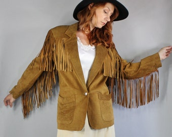 Vintage 80s Women's Rustic Fashion Modern Prairie Tan Brown Suede Fringe Western Southwest Cowgirl Fall Jacket