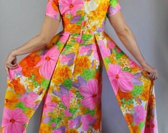 Vintage 60s Women's Bright Pink Orange Yellow Bold Floral Mid Century Modern Hawaiian Gown Long Tiki Party Dress