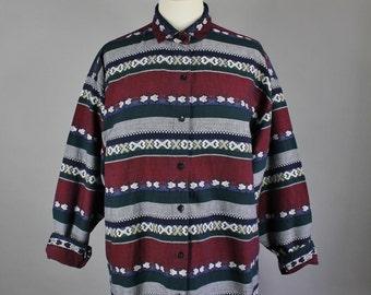 Vintage 90s Women's Burgundy Navy Southwest Tribal Design Striped Cotton Long Sleeve Button Down Shirt