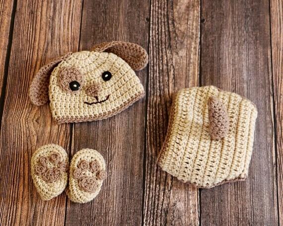 Crochet Puppy Hat Set Newborn Photo Prop Dog Hat Set
