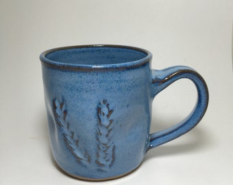 Handmade Vibrant Blue Stoneware Mug with Wheat - Blue Ceramic  Mug - Pottery Mug - Coffee Mug - Tea Mug - Beer Mug -  Wheat Mug - Blue Mug