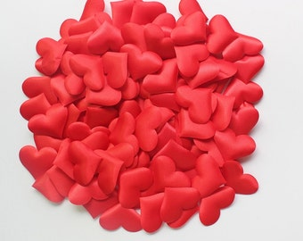 100 pcs Red Heart Applique Red Heart Wedding decoration confetti padded hearts fabric hearts