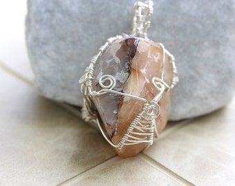 Wire Wrapped Jewelry Handmade Pendant Agate - Woven Wire - Handmade Wire Jewelry - Earthy Jewelry - Wire Wrap Pendant - Agate Necklace