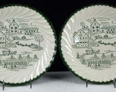 "Vintage 11"" Dinner Plates Countryside Underglaze Print Cream Green Church Barn Scalloped Edge Stoneware Glamping Cottage Chic ATCTTEAM"
