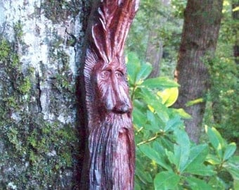 unique Green man wood spirit, hand carved redwood root by Sharon of WoodforddellDesigns, one-of-a-kind wood carving, tree house wall art