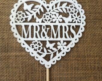 Mr & Mrs Wedding Silhouette Cake Topper