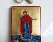 Our Lady Star of the Sea icon, Stella Maris , handpainted original 6x8 inches, MADE to ORDER
