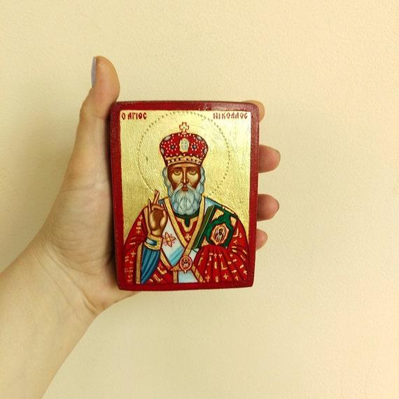 Saint Nicholas, Santa Claus, Sinterklaas - original  icon, handpainted orthodox style - 4x3inches on wood panel